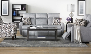 Power Reclining Memory Foam Sofa in Gray Fabric with Power Reclining Ends, Power Headrests and USB ports from Infinite Motion