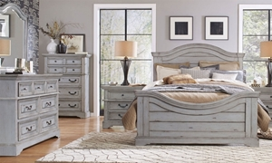 Queen bedroom set with planked panel bed and 7-drawer dresser with arched beveled mirror in antique gray finish
