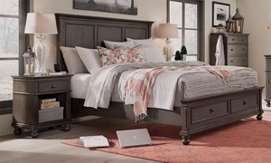 Aspenhome Oxford Peppercorn Queen Panel Storage Bed