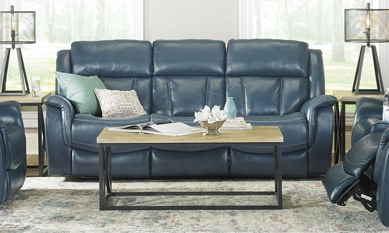 Trojan Blue Power Sofa with Power Headrest & USB Charging  in Top Grain Leather