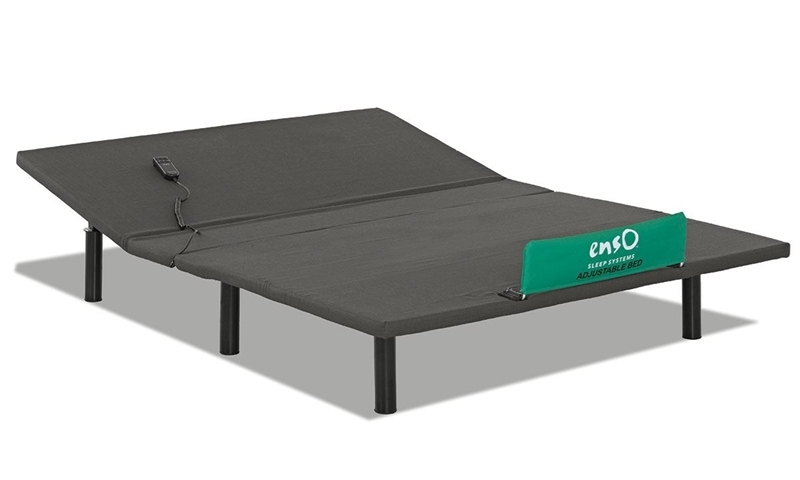 Enso Queen Base with Wired Remote allows for Head Adjustment - Partially Elevated