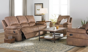 Dual Reclining Sofa with Nail Head Trim, Padded Back and Pillowtop Arm in Brown Faux Leather - Full Set Shot in Living Room