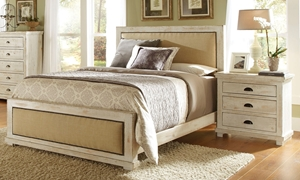 Willow White Pine & Linen Rustic Queen Bed