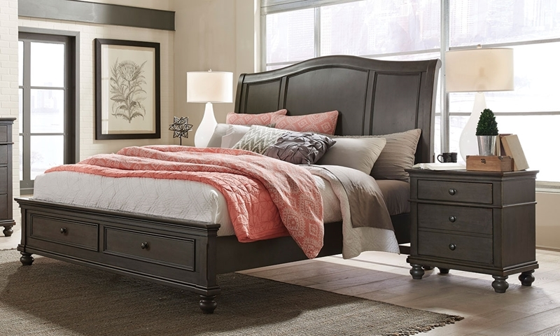 Aspenhome Oxford Peppercorn King Sleigh Storage Bed