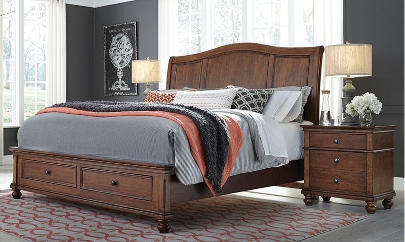 Aspenhome Oxford Brown King Sleigh Storage Bed