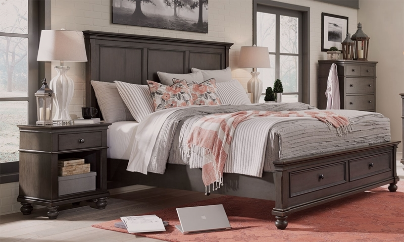 Aspenhome Oxford Peppercorn King Panel Storage Bed