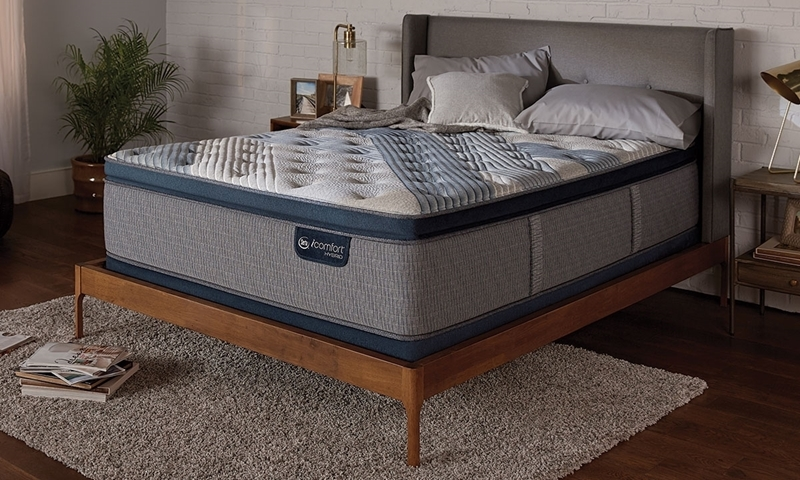 """Serta iComfort® Hybrid 16"""" Queen Mattress featuring Temp activ touch fabric temperature control and memory foam encased coiling for durability & firmness."""