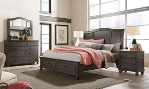 Aspenhome Oxford Peppercorn King Sleigh Storage Bedroom
