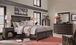 Aspenhome Oxford Peppercorn King Panel Storage Bedroom