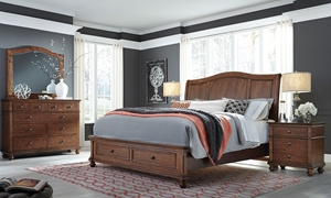 Aspenhome Oxford Brown King Sleigh Storage Bedroom