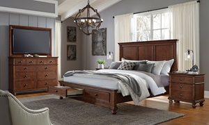 Aspenhome Oxford Brown King Panel Storage Bedroom