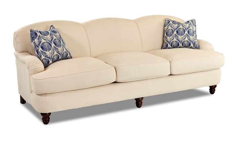 Trisha Yearwood Memphis 93-Inch Bridgewater Sofa in Cream Fabric with Blue Throw Pillows