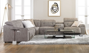Power Reclining Storage Sectional Sofa with USB in Gray Fabric