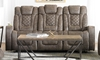 Graham Quilted Power Reclining Sofa with Power Headrests, USB Charging, Drop Down Table and Cup Holders in Brown Faux Leather