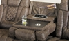 Graham Quilted Power Reclining Sofa with Power Headrests in Brown Faux Leather - Drop Down Table, Cup Holder and USB Charging Close Up