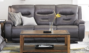 89-inch Faux Leather Gray Sofa with Power Reclining Ends, Power Headrests and USB Ports.