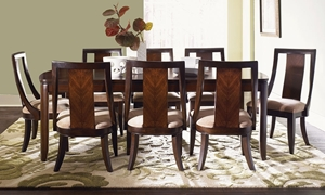 Boulevard Quartered Mahogany 7-Piece Contemporary Dining Set