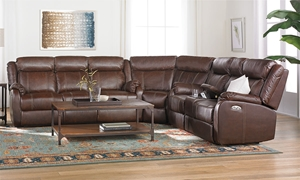 Picture of Leather Power Reclining Storage Sectional with USB