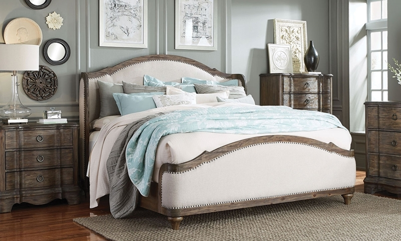 Parliament French Country Upholstered Queen Shelter Bed
