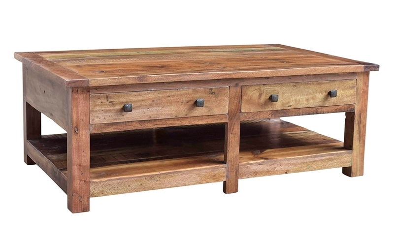 Nepal Handcrafted Solid Wood Rectangle Cocktail Table