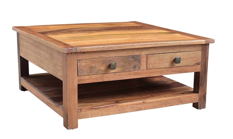 Nepal Handcrafted Solid Wood Square Cocktail Table Haynes Furniture