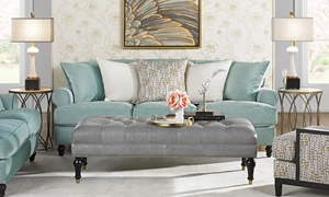 "Tiffany Blue Traditional 90"" Roll Arm Sofa from Velvetique in Living Room"