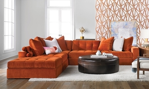 Velvetique Noah Contemporary Tufted Track Arm Sectional