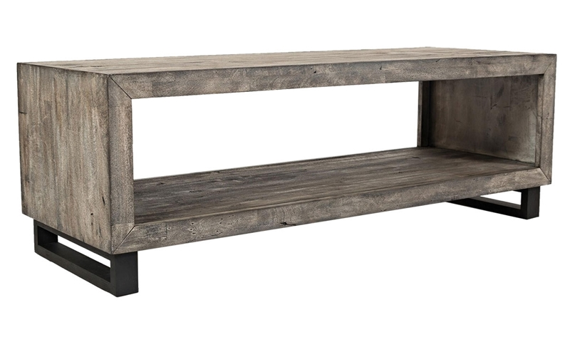 Mulholland Drive 56-inch Contemporary Cocktail Table in Distressed Gray Finish with Open Display Space