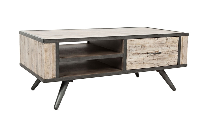 Mid-century cocktail table in a distressed grey wash finish along acacia wood featuring industrial black steel accents & 2 double side accessible shelves.