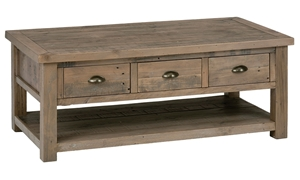 Slater Mill Reclaimed Pine Coffee Table with 3 Storage Drawers, Lower Shelf and Casters