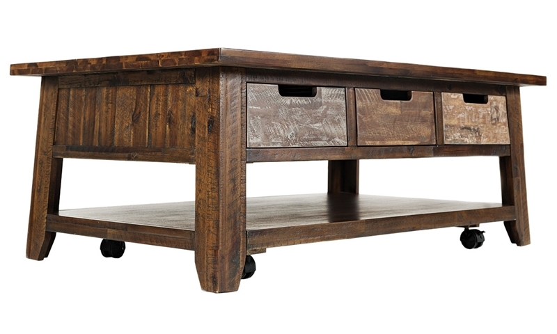 Painted Canyon Acacia Coffee Table with Storage Drawers, Lower Shelf and Casters in Warm Brown Finish
