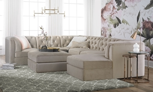 Velvetique Amelia Tufted Shelter Arm Sectional