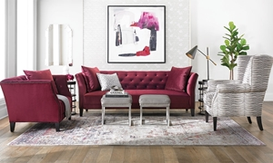 Velvetique Layla 90-Inch Tufted Shelter Arm Sofa