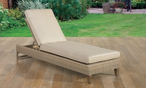 St. Lucia Memory Foam & Wicker Outdoor Chaise Lounge