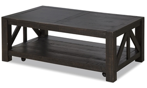 Magnussen Home Easton pine rectangle plank style coffee table with casters, block legs, and a spacious lower bottom shelf in a dark brown weathered finish.