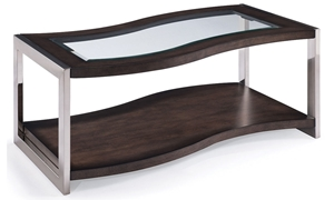 Magnussen Home Lynx Curved Cocktail Table with Glass Inset Top and Casters