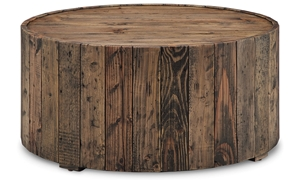 Magnussen Home Dakota Rustic 34-Inch Round Cocktail Table with Casters in Distressed Pine Finish