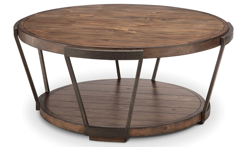 Magnussen Home Yukon Pine & Iron Round Cocktail Table with Casters and Lower Display Shelf