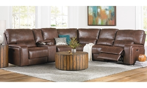 Triple Power Reclining Storage Sectional with Power Headrest