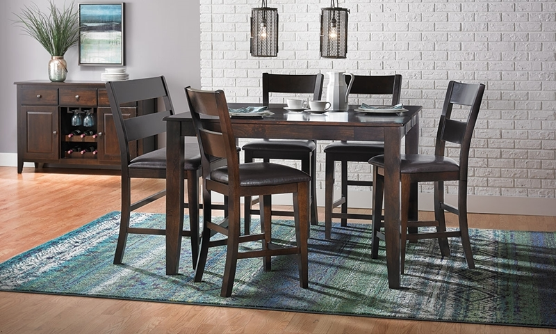 Ordinaire Dark Mango Solid Wood 5 Piece Counter Height Dining Set