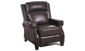 Leather Greek Key Arm Power Recliner with USB