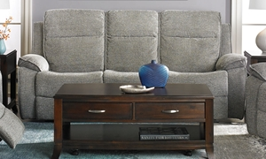 Klaussner Castaway Reclining Sofa with Drop Down Table, Pillowtop Arms and Deep Bucket Seating in Grey Upholstery