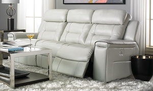 Klaussner Islander Power Sofa with Power Headrest & USB Charging with Full Chaise in Gray Faux Leather