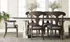 Farmhouse style dining table with trestle table and splat back chairs