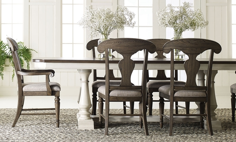 Farmhouse Style Dining Table With Trestle And Splat Back Chairs