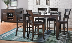 Dark Mango Solid Wood 6-Piece Counter Height Dining Set