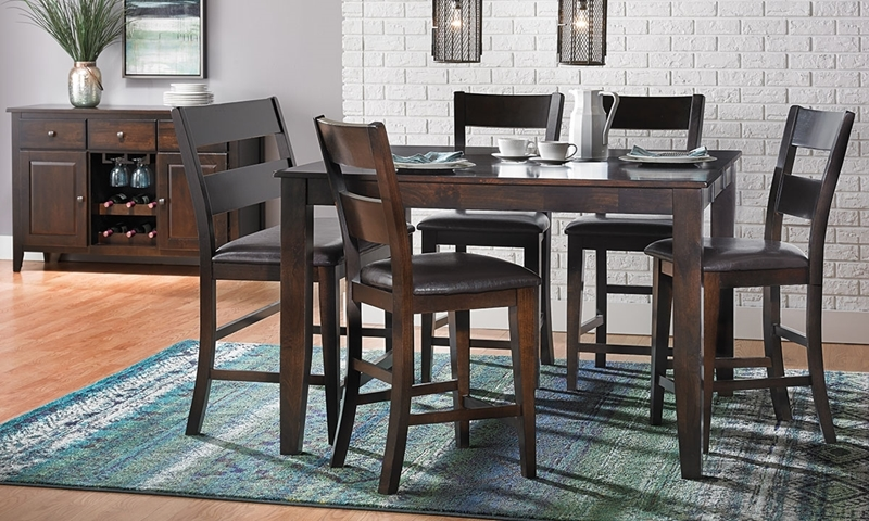 Dark Mango Solid Wood 6 Piece Counter Height Dining Set