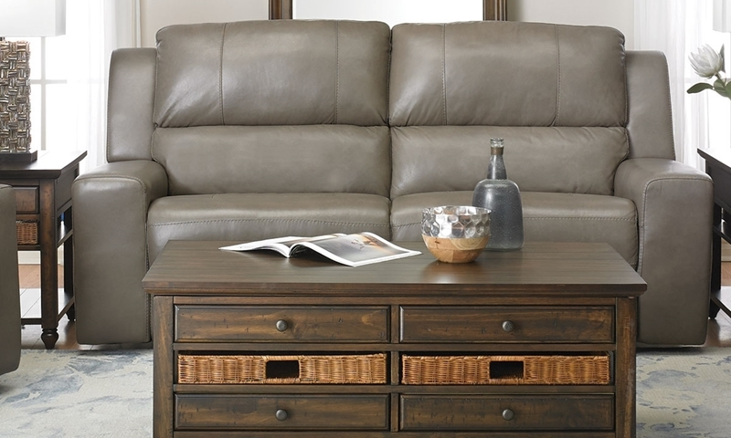 Contemporary Leather Reclining Sofa With Headrest