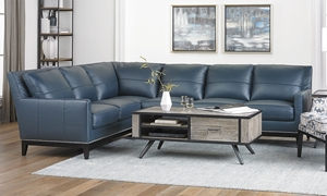 Contemporary Leather Track Arm Sectional with Nail Head Trim
