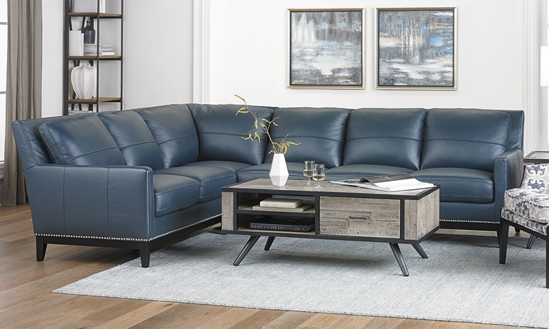 Contemporary Leather Track Arm Sectional Sofa with Nail Head Trim and Plush Cushions in Navy Blue Leather
